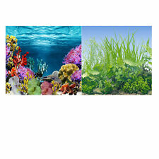 """19.3"""" x 48"""" Double Sided Fish Tank Aquarium Background Green Grass/Colored Coral"""