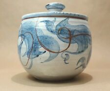 Studio Pottery Joy R Bulford RJB Stoneware Lidded Pot Chinese Fluid Blue Copper