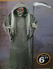HALLOWEEN LIFE SIZE HAUNTED ANIMATED TALKING LIGHTED GRIM REAPER FIGURE PROP 6'