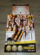 OFFICIAL HAWTHORN HAWKS HAND SIGNED LUKE HODGE BACK TO BACK PRINT + COA PREMIERS