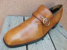 JOHNSTON MURPHY Mens Dress Shoes British Tan Buckle Loafers Casual Size 8.5