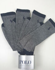 NWT 4 X PAIRS POLO RALPH LAUREN MEN GRAY BLUE LOGO CREW RIBBED LONG SOCKS.