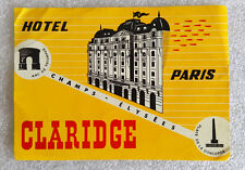 Vintage Old Rare ✱ HOTEL CLARIDGE / PARIS ✱ Hotel luggage label Kofferaufkleber