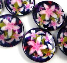 20mm Pink Lily Flower Mother Of Pearl Disc MOP Beads 16""