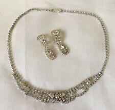 Style vintage verre clair collier boucles d'oreilles pendantes set mariage mariée