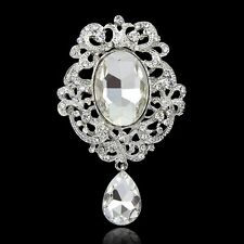 Bling Dangle Teardrop Clear Crystal Rhinestone Pin Brooch Bridal Dress Decor New