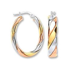 Solid 925 Sterling Silver/Rose/Yellow Gold Twist Oval Hoops Earrings Gift 429