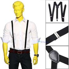 New Adjustable Slim Unisex Men Ladies Trouser Braces Suspenders Clip On Black TL