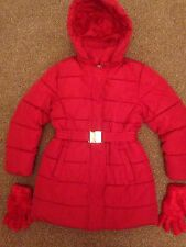 M&S GIRL'S QUILTED RED SCHOOL COAT & GLOVES, Age 9-10, VERY WARM, GORGEOUS !!!!