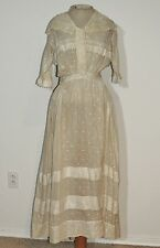 Edwardian Embroidered Dot Cotton Tea Dress w Irish Lace SM - MED w- 27 1/2