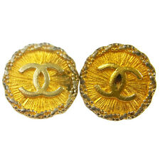 "Authentic CHANEL Vintage CC Logos Button Gold Earrings 1.0 "" Clip-On V11120"