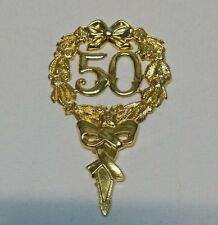 50th Anniversary or Birthday Gold Cake Topper Shield