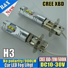 2x High Bright H3 XENON 6000K 20W CANBUS HIGH POWER CREE XBD LED Car Fog Bulbs