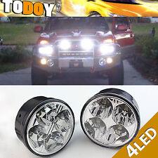 Pair 4 LED Round Daytime Driving Running Light DRL Car Fog Lamp Headlight White