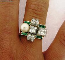 Beautiful Antique Art Deco Diamonds Emerald Pearl 18k Yellow Gold Ring