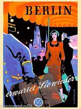 Berlin Germany German Europe European Vintage Travel Art Advertisement Poster