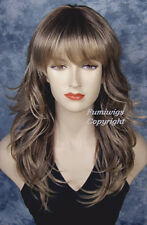 Layered Flip Wavy Wig In Chestnut Brown With Highlights From Fumi Wigs UK