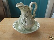 Small Retro Iridescent Art Pottery Green Pitcher and Bowl Set
