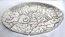 CBK Platter Spring Easter Bunny Rabbit Leaves Sculpted Metal Dish Serving Plate