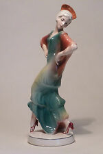 SUPERB VINTAGE KATZHUTTE ART DECO PORCELAIN SPANISH LADY FIGURINE