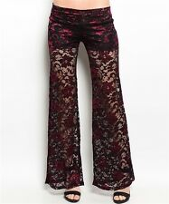S TRIBAL GOTHIC GYPSY BOHO SALSA LACE BELLY DANCE DANCING HAREM PALAZZO PANTS