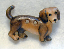 "Handcrafted Porcelain Button Realistic Dachshund Dog 1"" x 5/8"" FREE US SHIPPING"