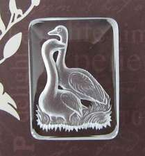 Vintage Cameo Intaglio Cabochon Crystal Swan Bird Matte Frosted Etched 34x25mm