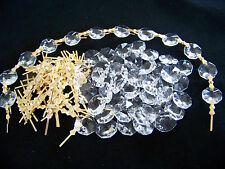 30 FT. DIY 30% LEAD CRYSTAL CHANDELIER/WEDDING / CHRISTMAS CHAIN  GOLD CONNECTOR