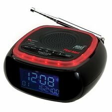First Alert AM/FM Weather Band Clock Radio with S.A.M.E. Alert, Black/Red, New,