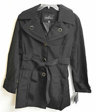NWT Women's London Fog Single Breasted Trench Coat Black w/detachable hood sz XL