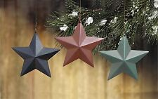 "Lot of 12 Tin Barn Star RED GREEN & BLUE 3 3/4"" Christmas Ornaments"
