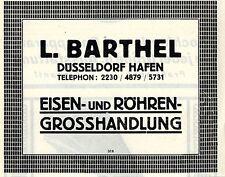 L. Barthel Düsseldorf Hafen Eisen- und Röhren- Grosshandlung Reklame 1925