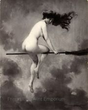 Victorian Witch Print 8 x 10 - Edwardian on Broomstick - Art Nouveau - Dark Art