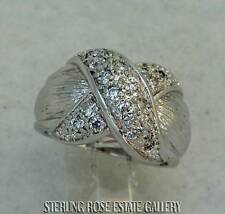 """CROSS MY HEART"" Sterling Silver Estate WHITE STONE BAND RING size 6.25"