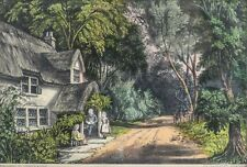 "Currier & Ives Hand Colored Lithograph ""The Thatched Cottage"""