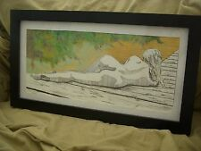 "Nude ink drawing framed 12""x 22"" orginial by Artist"