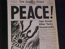 VINTAGE NEWSPAPER HEADLINE~WORLD WAR 2 TWO ENDS OVER PEACE Japan Surrenders WWII