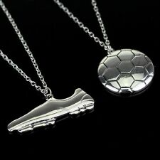2PCS Soccer Football Shoes Necklace Silver Chain Jewelry Fashion Lover's Friends