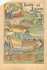 Caricature Politique Poète & Paysan Agriculteur Soc Charrue Campagne France 1936