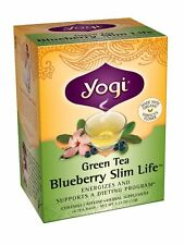 Yogi Blueberry Slim Life Green Tea, 16 Tea Bags (Pack of 6), New, Free Shipping