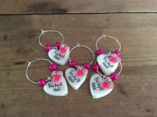hen party accessories 1 Wine Glass Charms Personalised Handmade Party Wedding