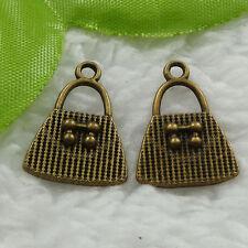 Free Ship 120 pcs bronze plated handbag charms 21x15mm #1049