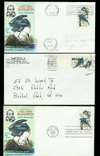 John James Audubon #1241 Set of 3 with 2 PREDATES Dayton Ohio + Bethel Park PA
