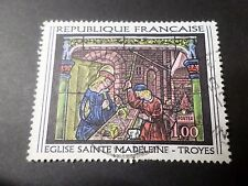 FRANCE 1967, timbre 1531 TABLEAU VITRAIL EGLISE PAINTING oblitéré VF used stamp