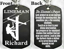 A LINEMAN'S PRAYER-Dog tag Necklace or Key chain + FREE PERSONALIZATION