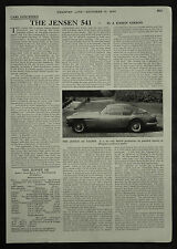 The Jensen 541 Saloon Review Specification Road Test 1955 1 Page Photo Article