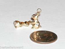 1 Miniature tiny little Matte Gold plated Easter Bunny Rabbit Pendant charm