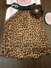 Dog Dress Size XS Brown Leopard Print Brown Flower With Pearl Like Center