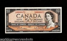 CANADA 50 DOLLARS P80 1954 YOUNG QUEEN BEATIE / RASMINSKY SIGN MONEY BANK NOTE