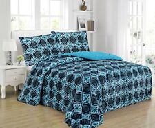 3-Piece Medallion Micromink Sherpa Reversible Blanket Comforter Set King, Blue